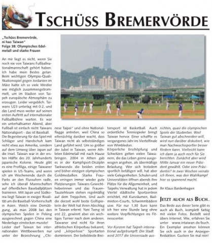 Taiwan Zeitungsartikel Sport