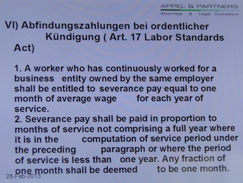 Arbeitsrecht Taiwan Abfindung