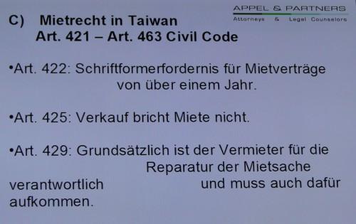 Mietrecht Taiwan Reparatur