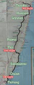 Taiwan East Coast Trip Map
