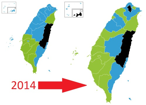 Taiwan Election Results 2014 Before and After