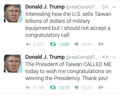 Donald Trump Tweets Taiwan