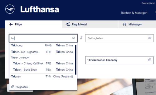 Lufthansa Website Taiwan China