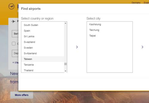 Lufthansa Website Taiwan vorher