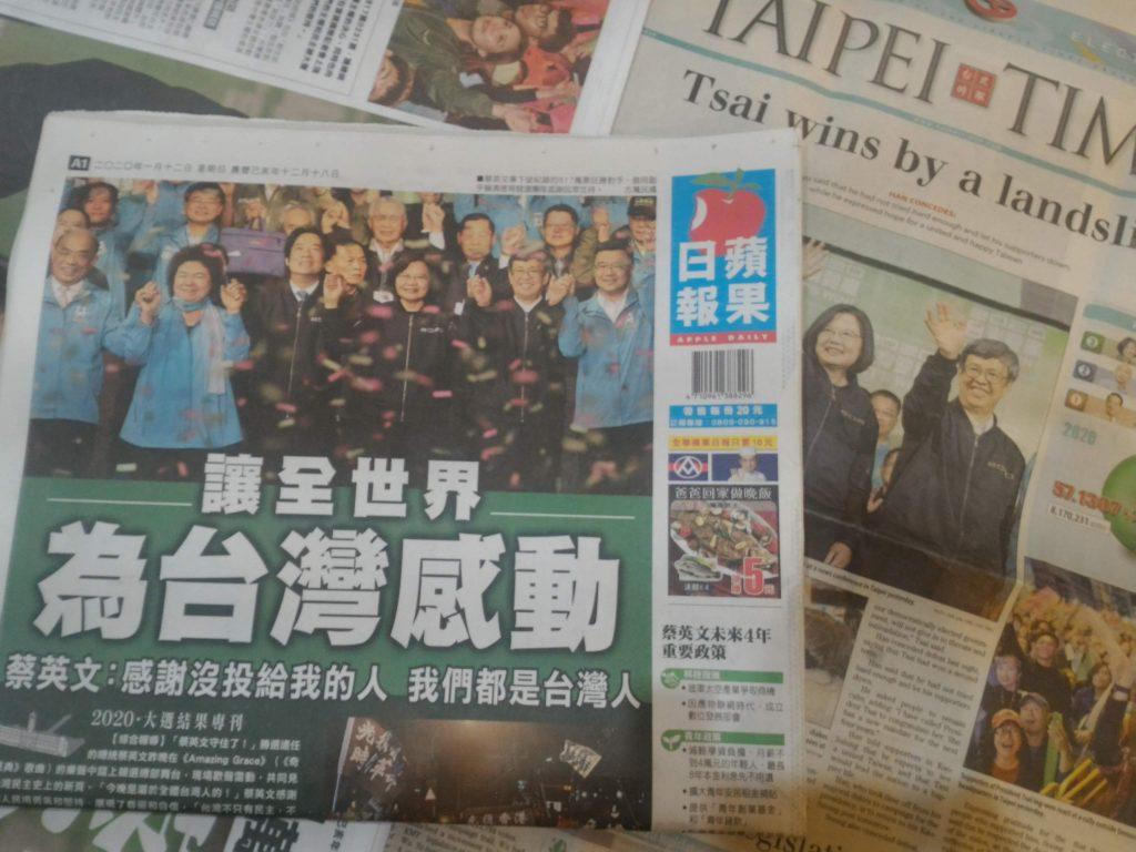 Zeitungen Schlagzeilen Taiwan Wahl 2020