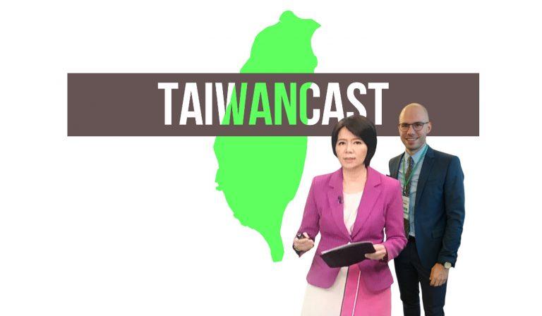 Logo des Taiwancast, der Umriss von Taiwan, mit den Gästen Liao Lin Li-ling und David Demes
