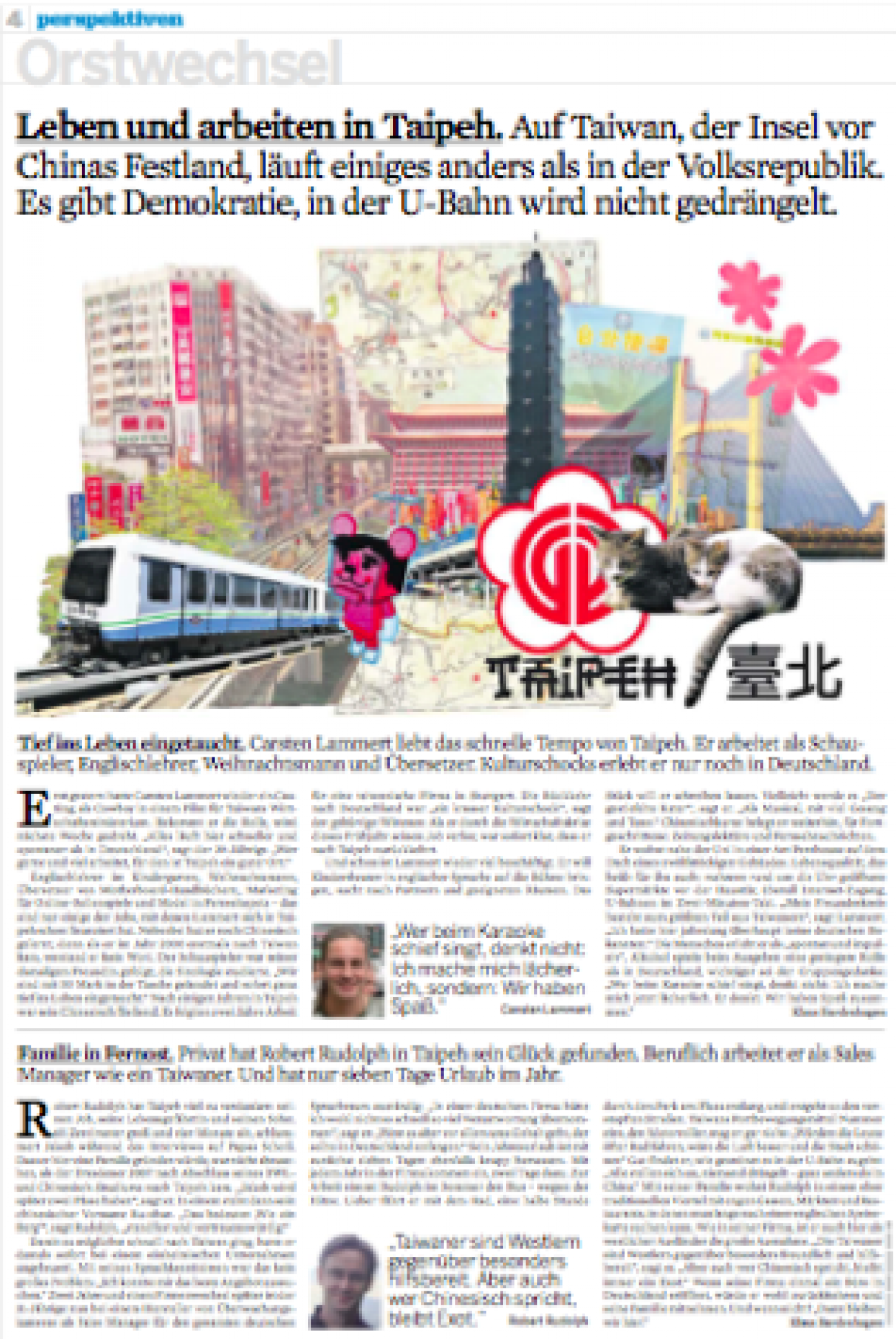 Ortswechsel Taipeh